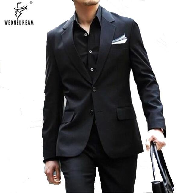 Trajes de los hombres cepillado oscuro negro 2018 Otoño Invierno 2 piezas  (Chaquetas + Pantalones 3309e332f49