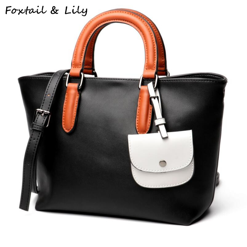 все цены на FoxTail & Lily New 2018 Ladies Shoulder Messenger Bags Patchwork Handbags Women Famous Brands Genuine Leather Casual Tote Bag