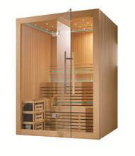 Dwuwarstwowy sucha Sauna z 4 5kW podgrzewacz M-6030 tanie tanio Z pawęży okna Pokoje sauny Z litego drewna Hemlock Sucha para 2 osób LED ILLUMINATION RADIO CE ISO9001 CQC RoHS ETL Reach ISO9001 SAA