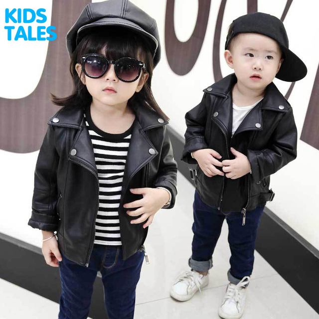 fb882d2e92f2 Girls PU Leather Jacket Boys Coats Autumn Spring Clothes 2017 ...