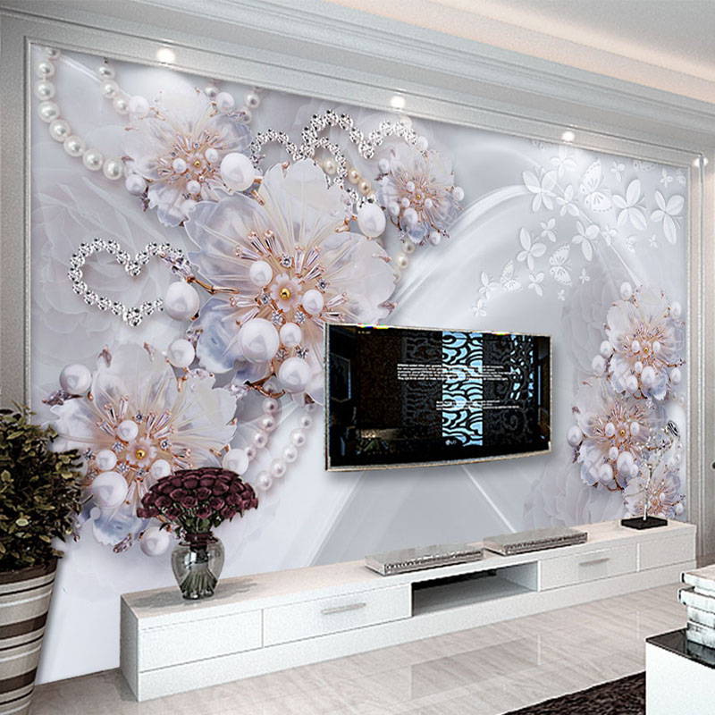 European Style 3D Stereoscopic Jewelry Flowers Photo Wallpaper Living Room TV Backdrop Wall Mural Luxury Home Decor Wall Papers