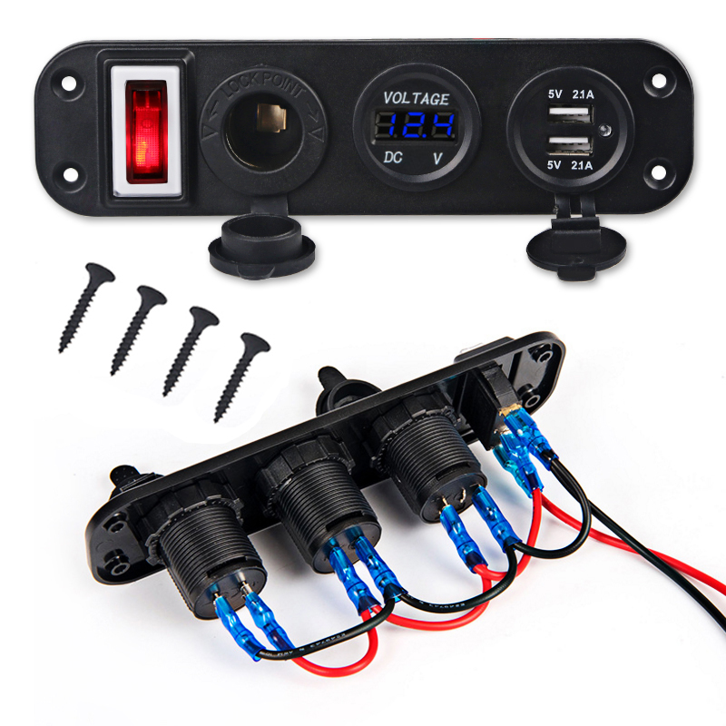 Switch-Panel Voltmeter Cigarette-Lighter Usb-Charger Boat Marine Dual Car 1PCS LED 12V