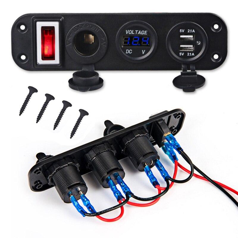 1PCS Car Marine Boat Switch Panel 5V 4.2A Dual USB Charger Cigarette Lighter 12V LED Voltmeter ON-Off Toggle Switch Panel