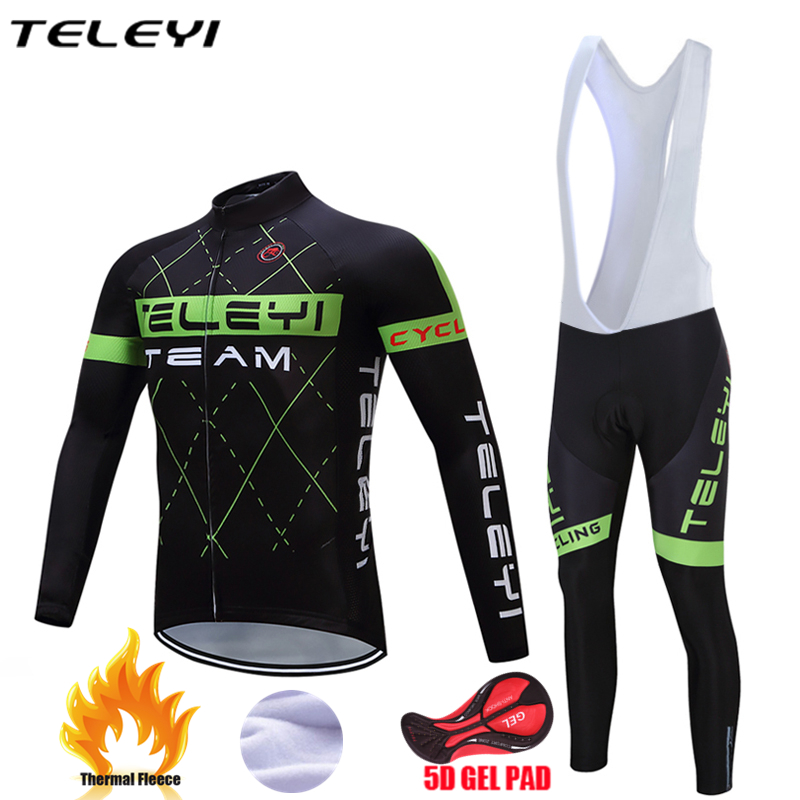 Teleyi 2017 Thermal Fleece Cycling Jersey Set Winter Bike Wear Maillot Ropa Ciclismo Invierno Hombre Men's MTB Bicycle Clothing цена 2016