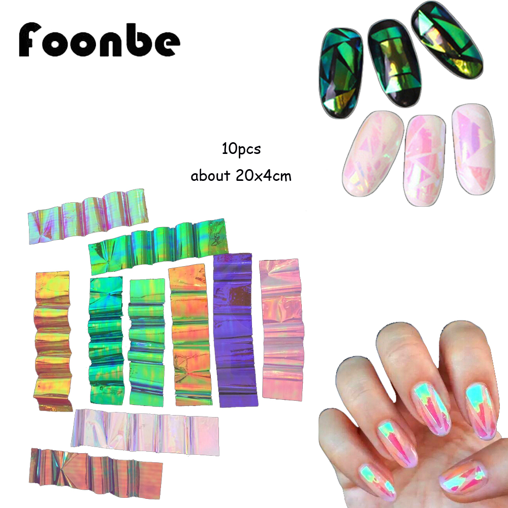 10 pcs Different Colors NEW Broken Glass Pieces Mirror Foil Tips Stencil  Decal Nail Art Sticker Cute DIY nail decoration Foonbe
