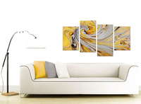 Mustard Yellow And Grey Spiral Swirl Abstract Canvas Split 4 Part Print On Canvas For Home Decor Drop shipping