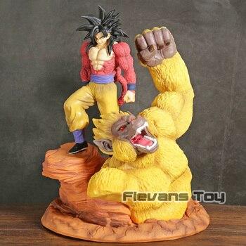 Dragon Ball Z Son Goku Super Saiyan 4 Ouro Grandes Símios Cena Resina Estátua Figura Collectible Toy Modelo