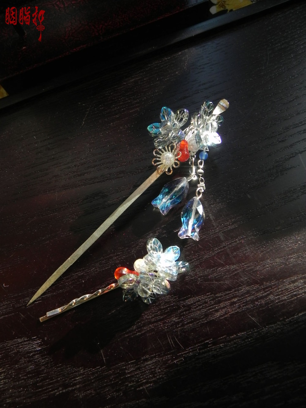 Colored glaze vintage original handmade earpick hair stick + hair pin hanfu accessory hair stick hair pin pink crystal double layer classical hair stick vintage hair accessory hair stick hanfu hair accessory