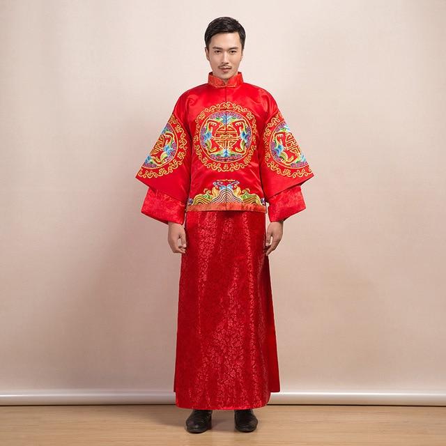 0e34b6ce04 Red Traditional Chinese Clothing Men Cheongsam Groom Wedding Suit Hanfu  Tang Costume Mandarin Jacket Dragon Phoenix