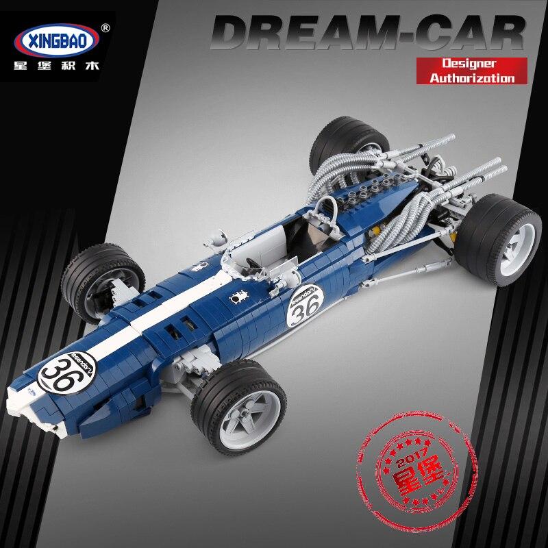 XINGBAO 03022 1758 قطعة الأزرق سباق مجموعة سيارة بناء كتل الطوب التعليمية مضحك لعبة نموذج الهدايا للأطفال-في حواجز من الألعاب والهوايات على  مجموعة 1