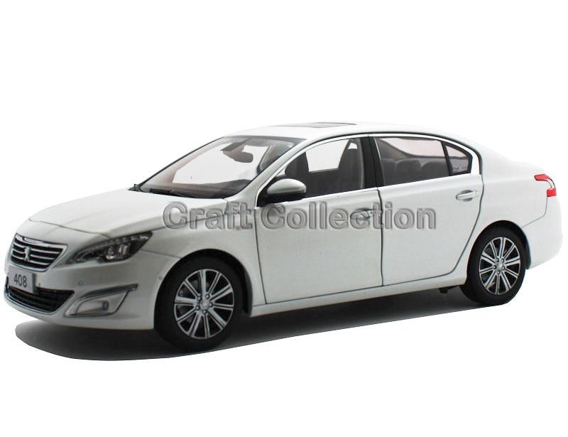 *White 1/18 Peugeot 408 2014 Sedan Die-Cast Model Car Simulation Model Vehicle Collectable Diecast Slot Cars