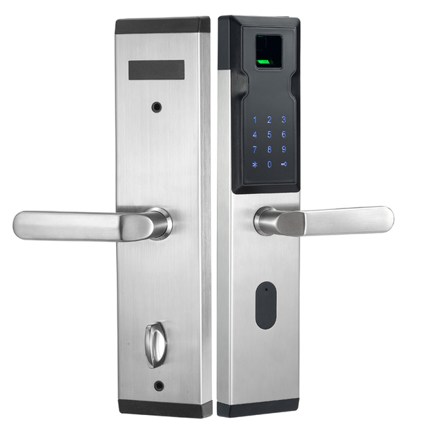 US $141 4 30% OFF LACHCO Biometric Smart Door Lock Fingerprint+4 Cards+2  Mechanical Keys Keyless Code Electronic Lock Entry Office Home L18018F-in