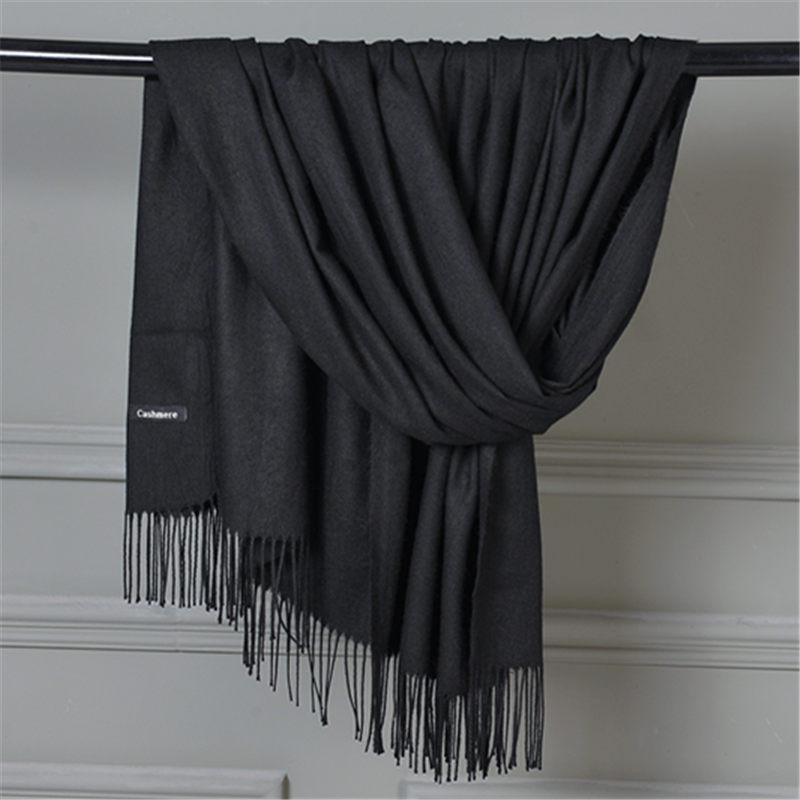 New Fashion 100% Faux Cashmere Scarf Kvinder Med Tassel Solid - Beklædningstilbehør - Foto 3