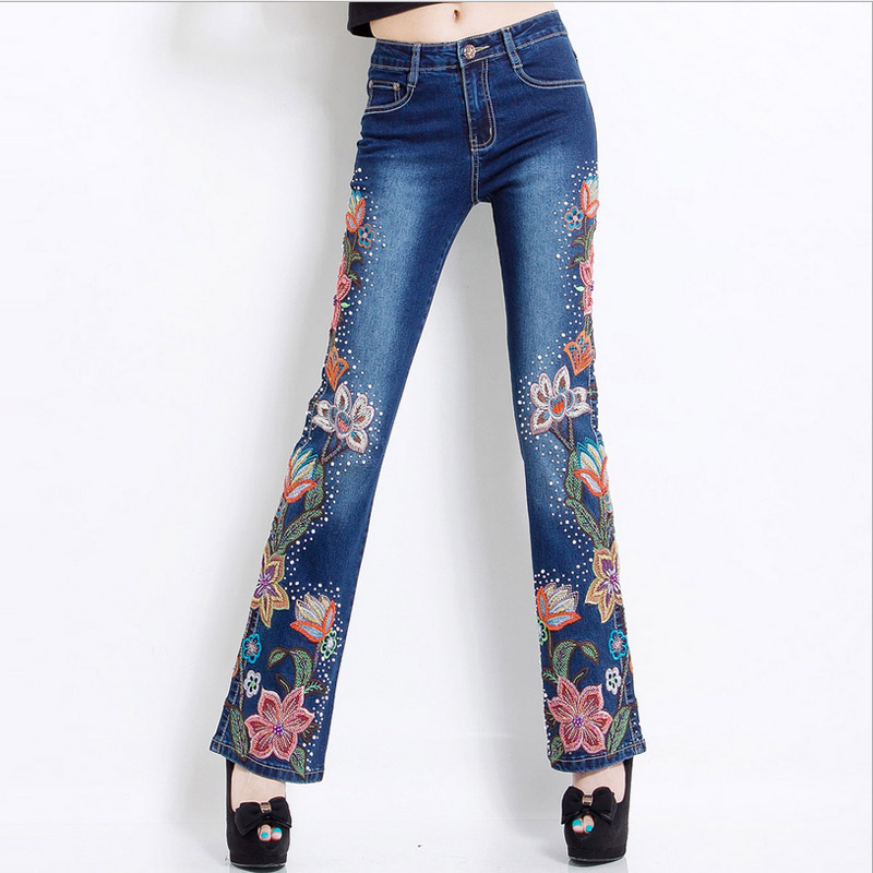 Color stretching jeans with embroidery straight wide leg