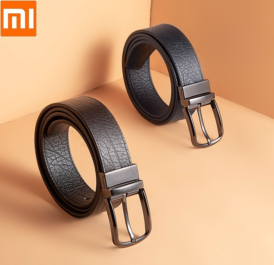Xiaomi mijia VLLICON man double sided Rotatable Pin buckle belt First layer cowhide high quality fashion