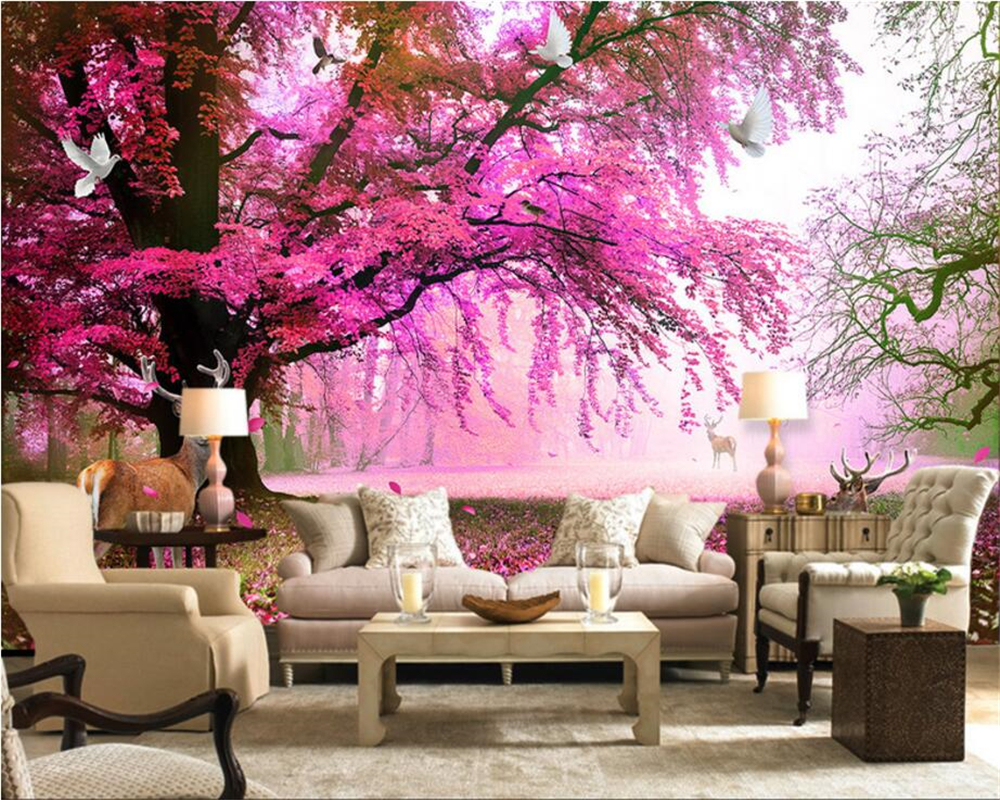 Beibehang Custom Wallpapers Fantasy Sakura Trees Sika Deer TV Walls Decorative Living Room Bedroom Background Mural 3d Wallpaper