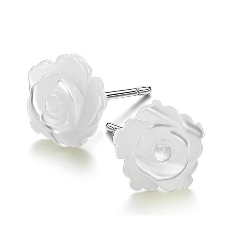 Drop Shipping Mother Of Pearl Shell Beige Rose Flower 100 925 Sterling Silver Stud Earrings For Women Fashion in Earrings from Jewelry Accessories