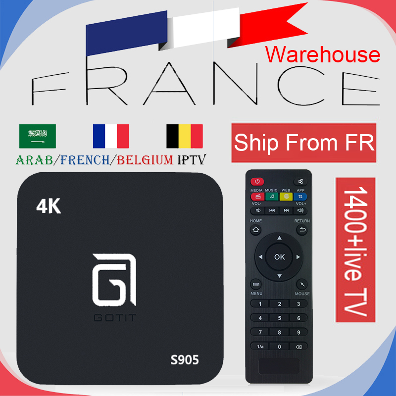 French Warehouse S905 Android TV Box with 1Year NEO 1200 Live IPTV channels&VOD for France Arabi Belgium Smart TV Set Top Box