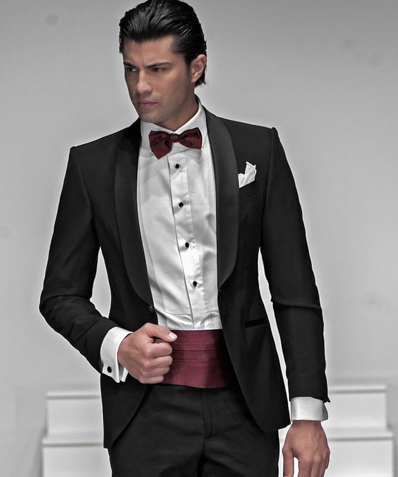 New Arrival Groomsmen Shawl Satin Lapel Groom Tuxedos Black Men Suits Wedding Best Man (Jacket+Pants+Tie+Hankerchief) C31