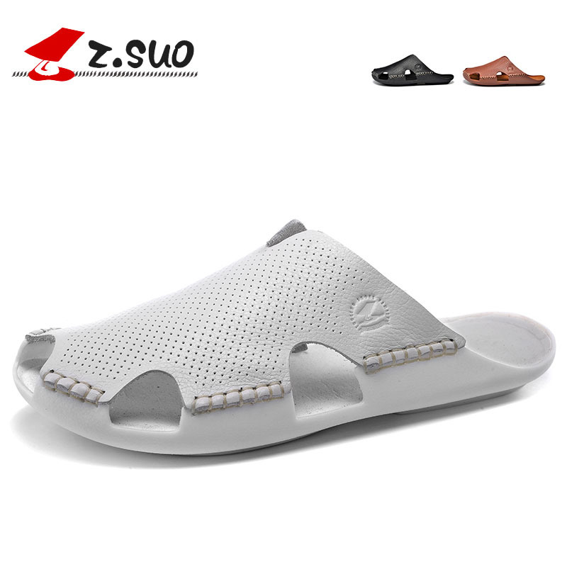 ФОТО Z'Suo New Women Genuine Leather Beach Shoes Casual Shoes Female Sandals Summer Slippers fishermen flat shoes SD018