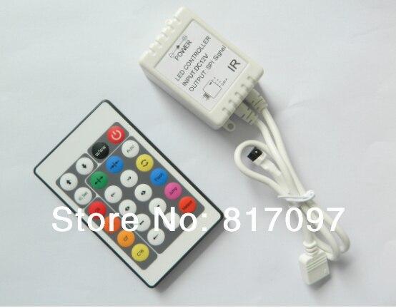 IR 24 teclas controlador magica levou cor RGB controlador IR un grupo senal chip HL1606 LPD6803 TM1809 WS2801 TM1803 SPI TM1903