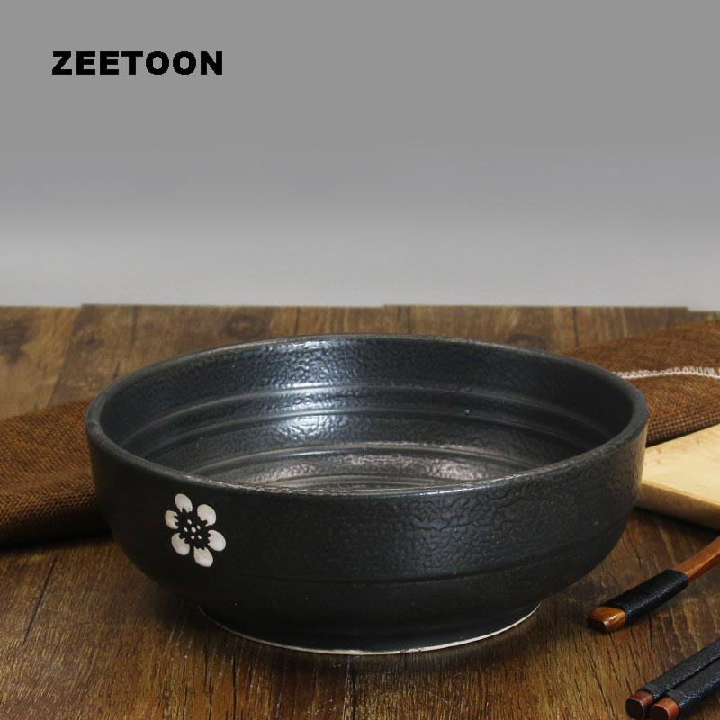 7/8inch Japanese Style Vintage Ceramic Big Soup Noodles Bowl Cherry Blossoms Dinnerware Tableware Accessories Ramen Bowl Holder
