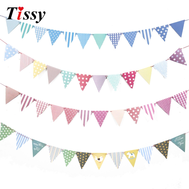 1Set DIY Paper Flags Garland Floral Bunting Banners Kids