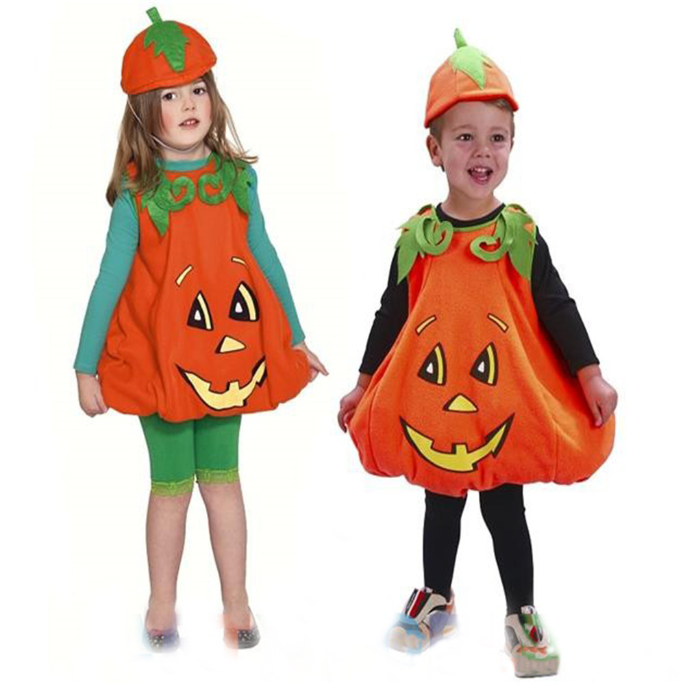 Toddler Boys Girls Pumpkin Costume 2017 New Style Halloween Girl Boys Tops + Hat Outfits Fancy Clothes