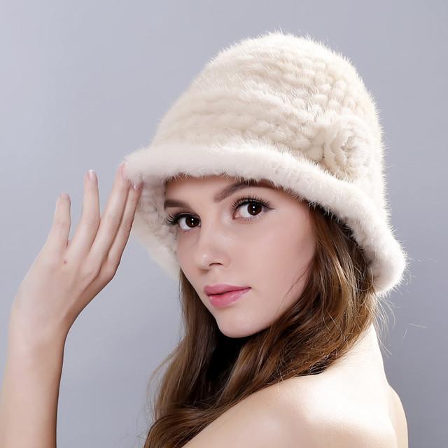 Chapéus de inverno Mulheres 2016 Fur Real Mink Chapéu Gorro De Pele Cap Chapéus Chapelaria Cocar Quente Gorros Moda Feminina