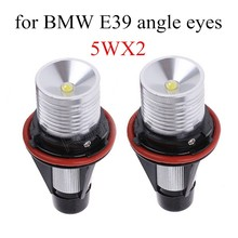 LED Angle Eyes Marker Ring Light Bulb Canbus For BMW E39 E53 E60 E61 2*5W 2 pieces 6000K high quality
