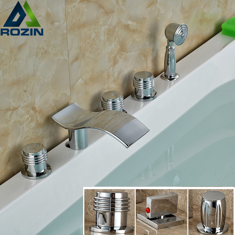 Polished Mirror Chrome Bathtub Sink Faucet Waterfall Bath Spout Bathroom Mixer Taps with Handshower