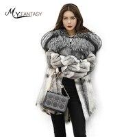 М. y. fansty зима импортируется из норки Мех животных пальто длинные градиент моды норковая шуба женская с лисой Мех животных капюшон Средний по