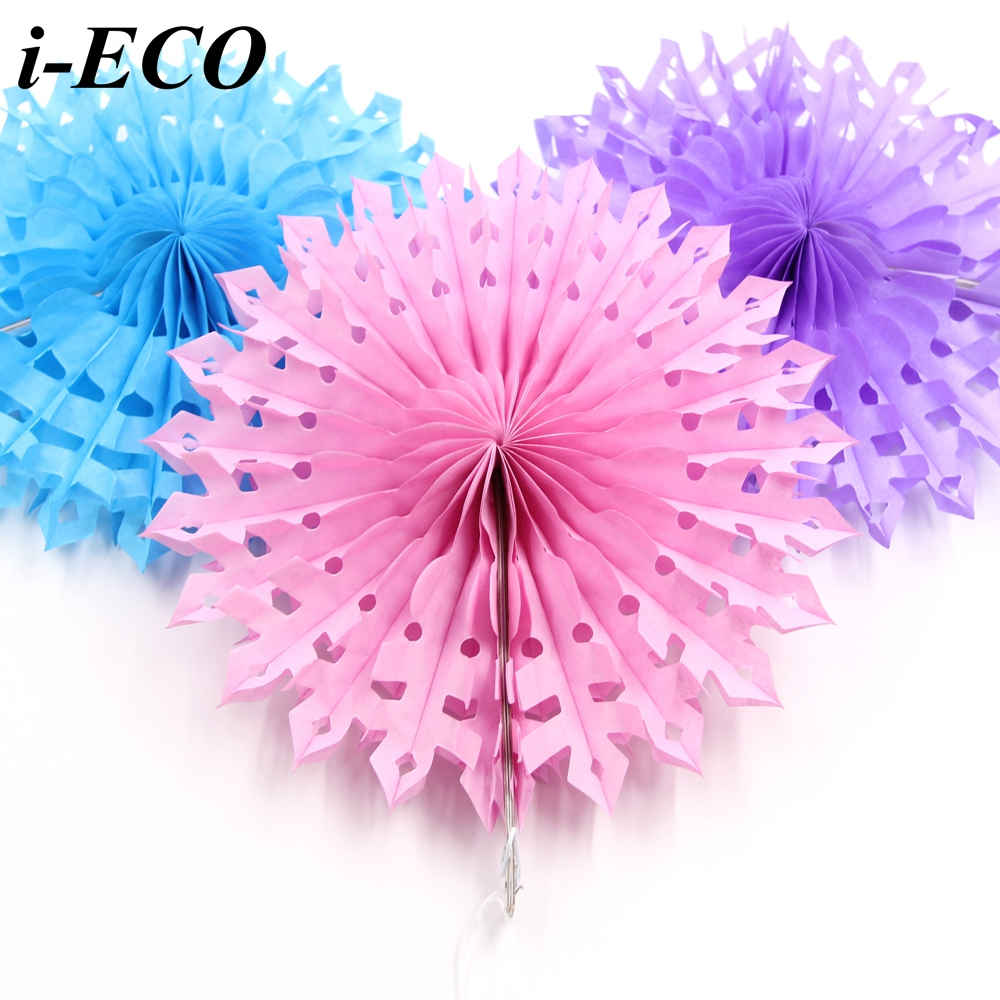 1pc 8inch Diy Snowflake Hollow Paper Fans Tissue Paper Flowers Home