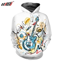 UJWI New Funny Shine Hoodie 3D Printing Men Fun Pullover Creative Crowded Graffiti Style Guitar Men's Clothing