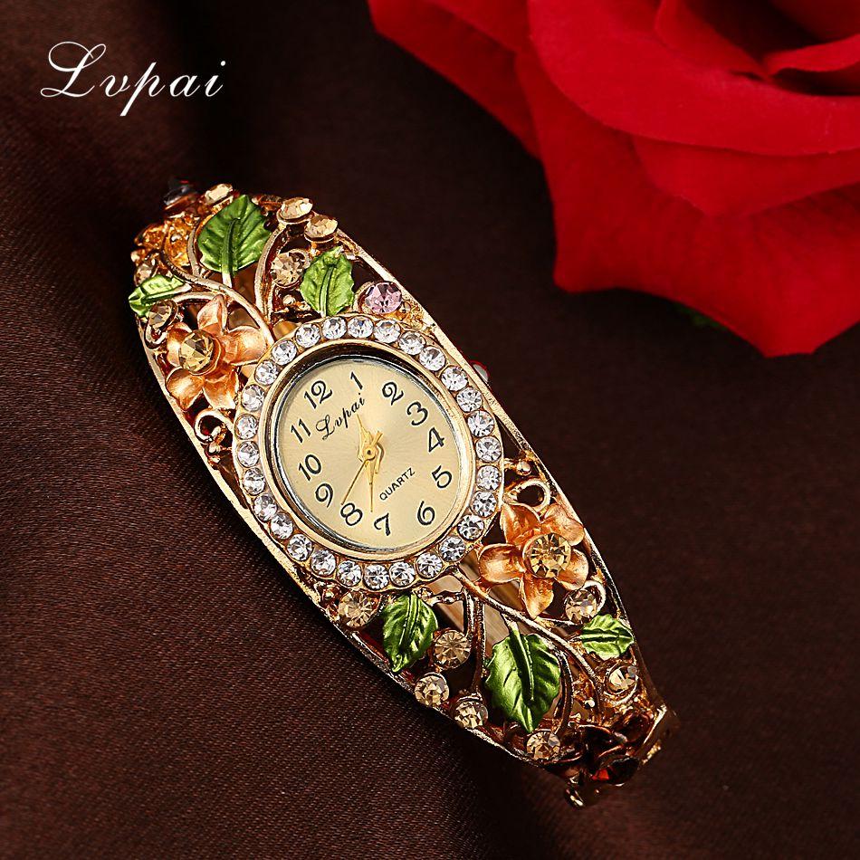 Lvpai Fashion Gold Watches Bracelet Watch Women Flower Gemstone Classic Alloy Wristwatch Women Dress Watches New Quartz Watch