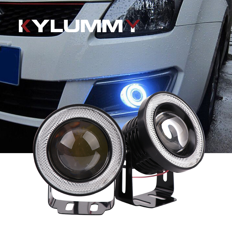 KYLUMMY 89mm/3.5Inch Car LED Daytime Running Lights Fog Lamp Angel Eyes 30W 7000K DRL Motorcycle headlamp Red Green Blue Yellow 2pcs purple blue red green led demon eyes for bixenon projector lens hella5 q5 2 5inch and 3 0inch headlight angel devil demon
