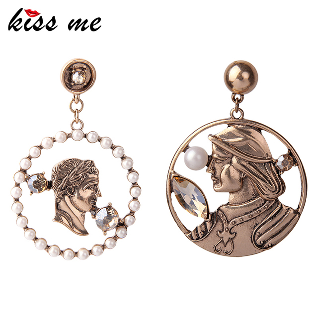 US $3 2 32% OFF|Aliexpress com : Buy KISS ME Women Earrings Antique Gold  Color Plating Acrylic Round Figure Dangle Earrings Fashion Vintage Jewelry