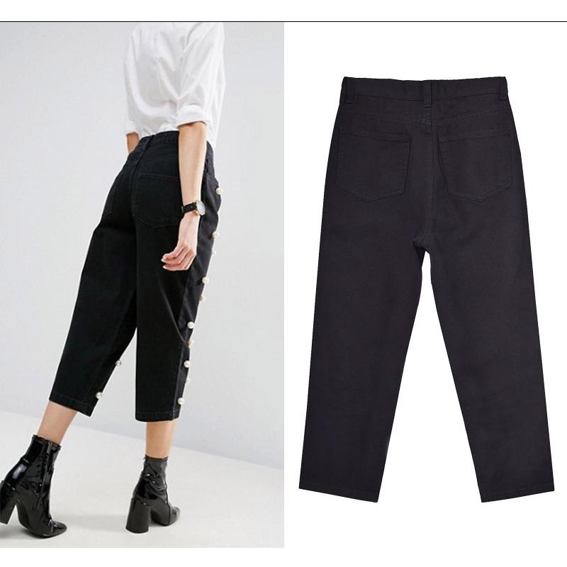 2017 Women`s high waist straight loose wide leg cowboy broken pants pendant big pearl lady pants street wild (4)