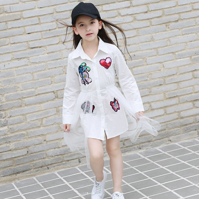 New 2018 Cotton Kids Girls Dresses Net Yarn Applique Children Clothing Teens girl Party dress 6 8 10 11 12 13 14 15 16 Years old in Dresses from Mother Kids