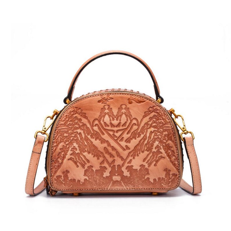 Embossing Designer Genuine Cow Leather Women Small Shell Purse Vintage Studs Handbag Double Zippers Closure Lady Shoulder Bag embossing geometric designer genuine leather vintage women s small purse handbag female lattice single shoulder messenger bag