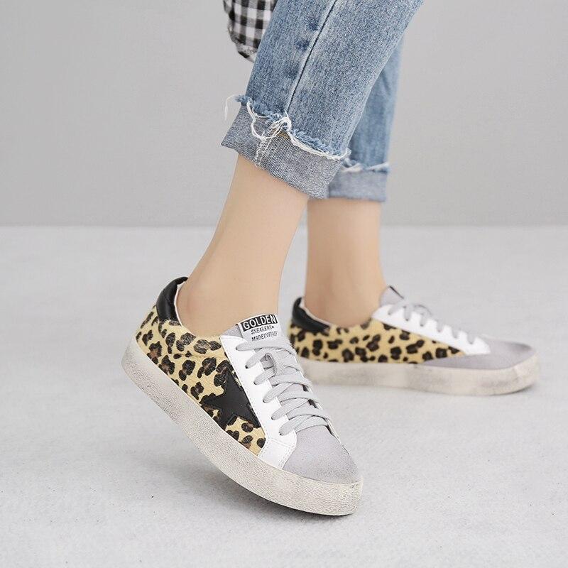 2018 Femmes Chaussures Hauteur Augmentation de Course Slipony Fille Femelle Léopard Rétro Confort D'or Blanc Plat chaussures D'été Chaussures