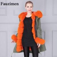 Wholesale Genuine Winter Luxury Fur Jacket Fox Fur Trim Hood Cuff Coat Women
