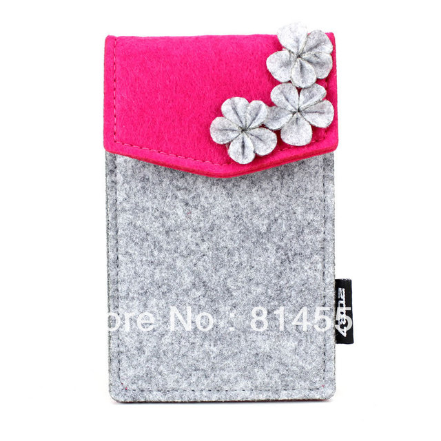 fefcf3bbc79a43 Floral Felt material Cell Phone Case mobile phone pouch pocket on ...