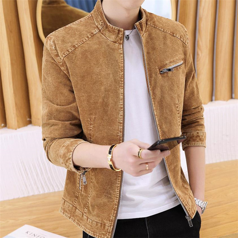 Autumn and winter new men's jacket casual slim jacket solid color retro denim jacket Stand collar coat-in Jackets from Men's Clothing    1