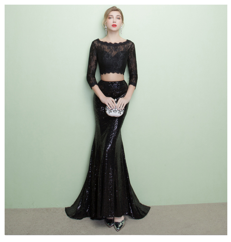 bd2d3b0149df0 CEEWHY Three Quarter Sleeve Black Lace Dress Two Piece Formal Mermaid Gown  Court Train Sequined Evening Dress Abendkleider