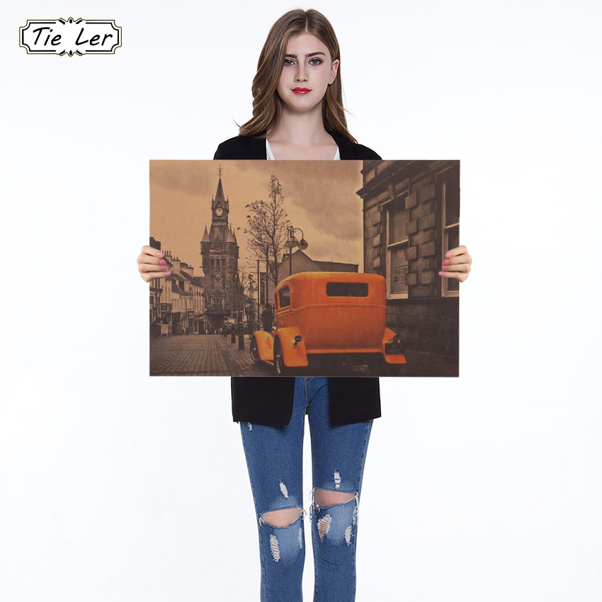 1PC Yellow Vintage Car London Street Poster Kraft Paper Bar Poster Retro Poster Decorative Painting Wall Stickers 51.5X36cm