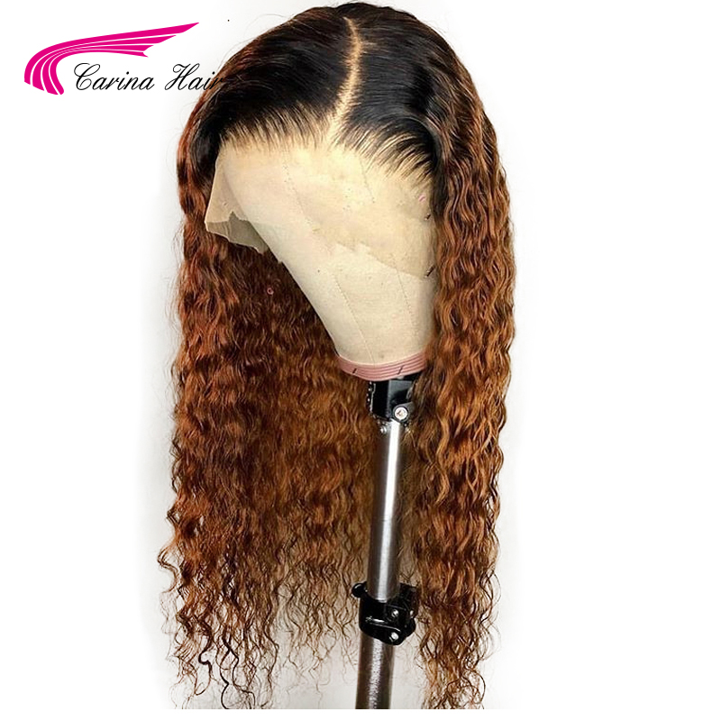 Ombre Pre Plucked Lace Front Human Hair Wigs With Baby Hair Curly Remy Hair Brazilian Lace