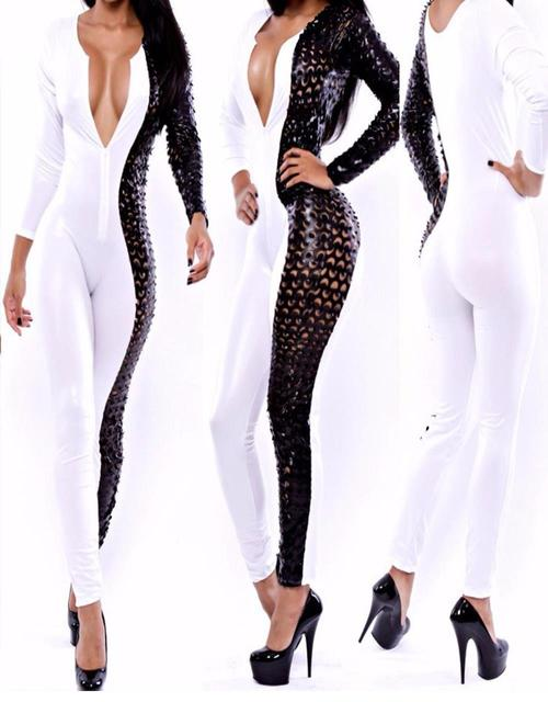 New Summer Sexy Sheer Hollow out Patch Work Jumpsuit Long Pants Women White Black Bodycon Overalls Slim Rompers  W373563