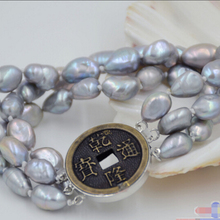"""3row """" 10 мм серый барокко пресноводные культивированный жемчуг браслет"""