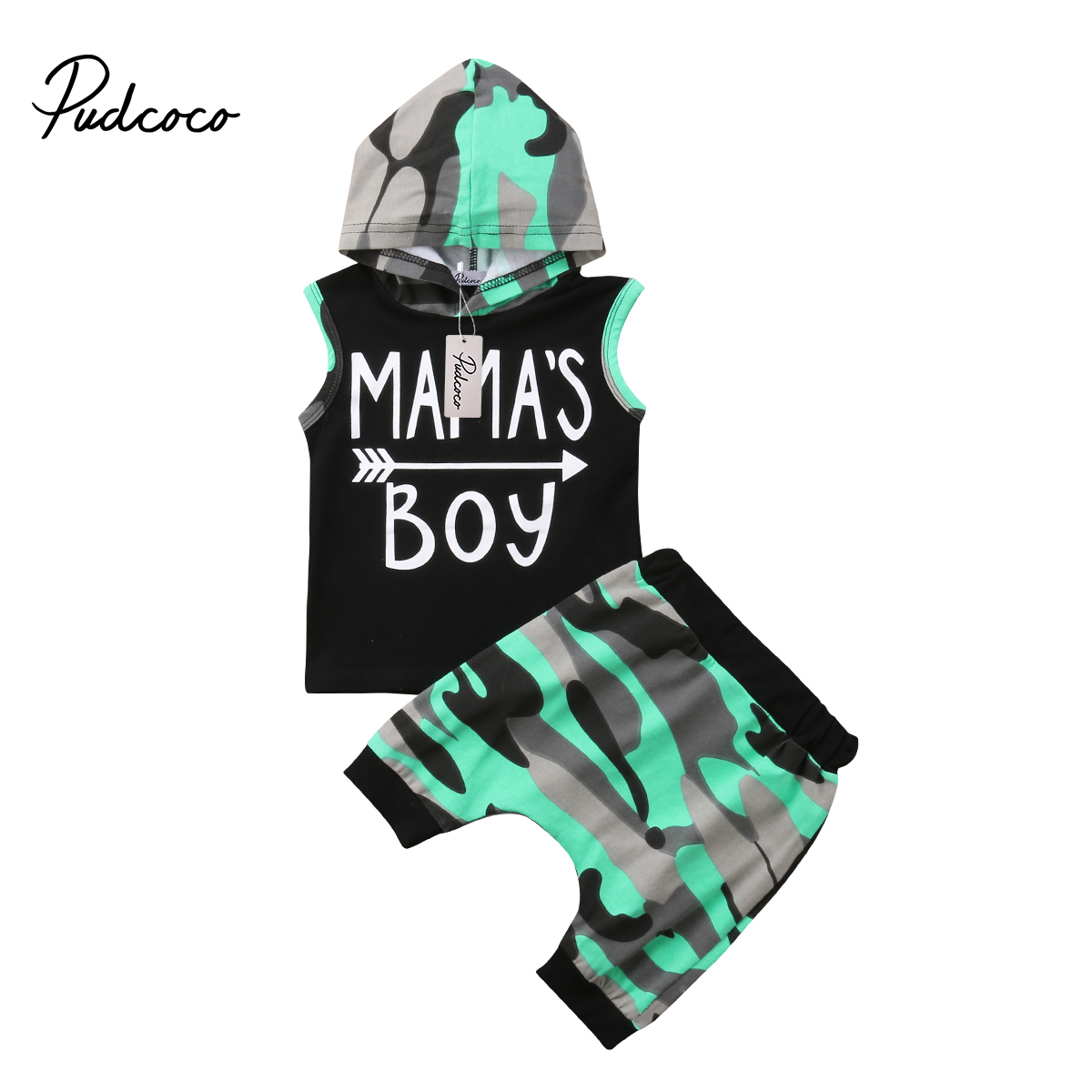 2018 Brand New Toddler Infant Baby Kids Boys Outfits Sleeveless Hoodie T-shirt Top+ Pant PP Shorts Camo 2PCS Set Summer Clothing